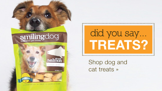 did you say treats call to action, with our dog holding his bag of treats of dog supplements with salmon.