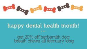 Happy Dental Health Month: get 20% off Herbsmith dog breath chews all February long