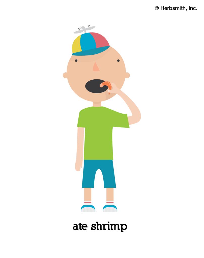 boy ate shrimp