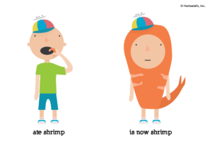 cartoon boy ate a shrimp, cartoon boy is now a shrimp
