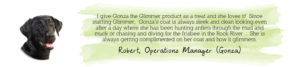 Glimmer testimonial from Robert: skin and coat health