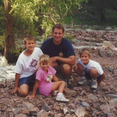 Joslin's dad and older brothers hiking