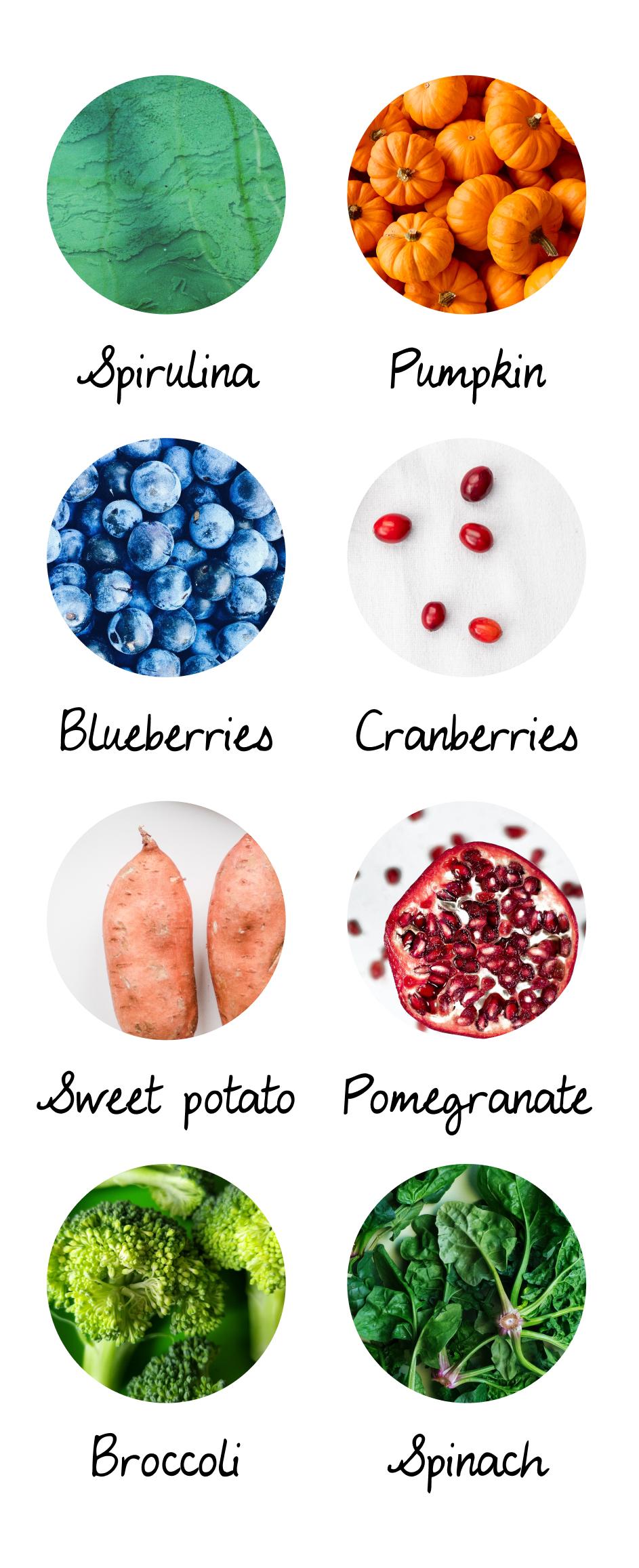 A list of superfood: spirulina, pumpkin, blueberries, cranberries, sweet potato, pomegranate, broccoli, spinach